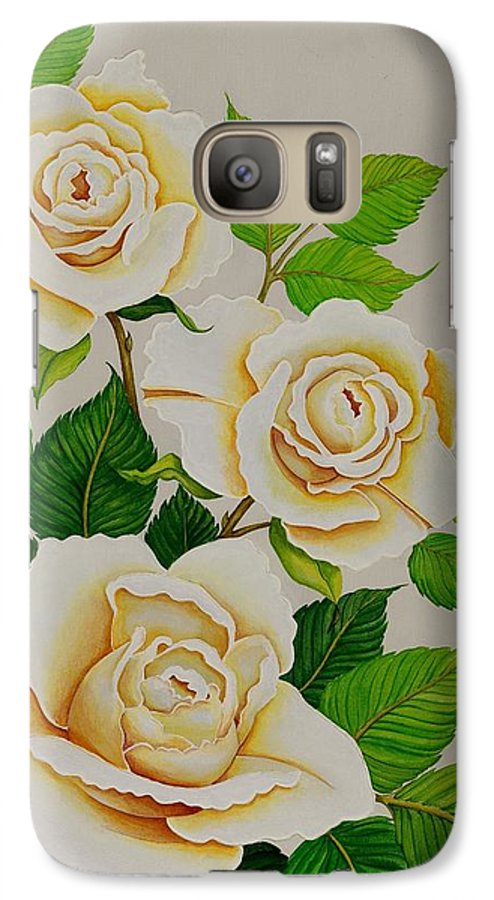 White Roses With Yellow Shading On A White Background. Galaxy S7 Case featuring the painting White Roses - Vertical by Carol Sabo