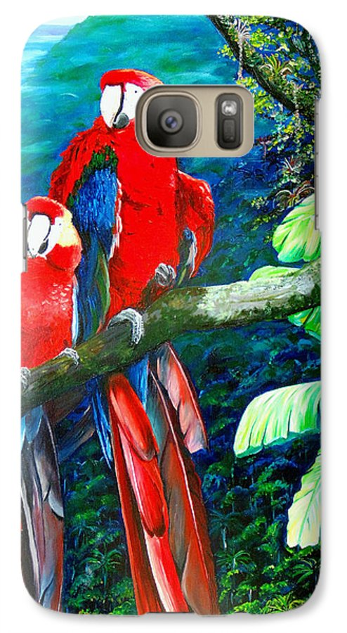Caribbean Painting Green Wing Macaws Red Mountains Birds Trinidad And Tobago Birds Parrots Macaw Paintings Greeting Card  Galaxy S7 Case featuring the painting Who Me  by Karin Dawn Kelshall- Best