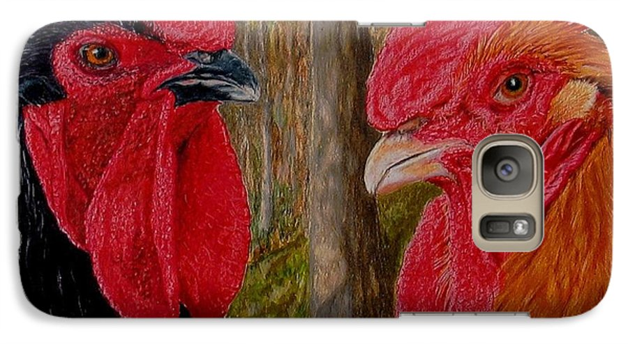 Roosters Galaxy S7 Case featuring the painting Who You Calling Chicken by Karen Ilari