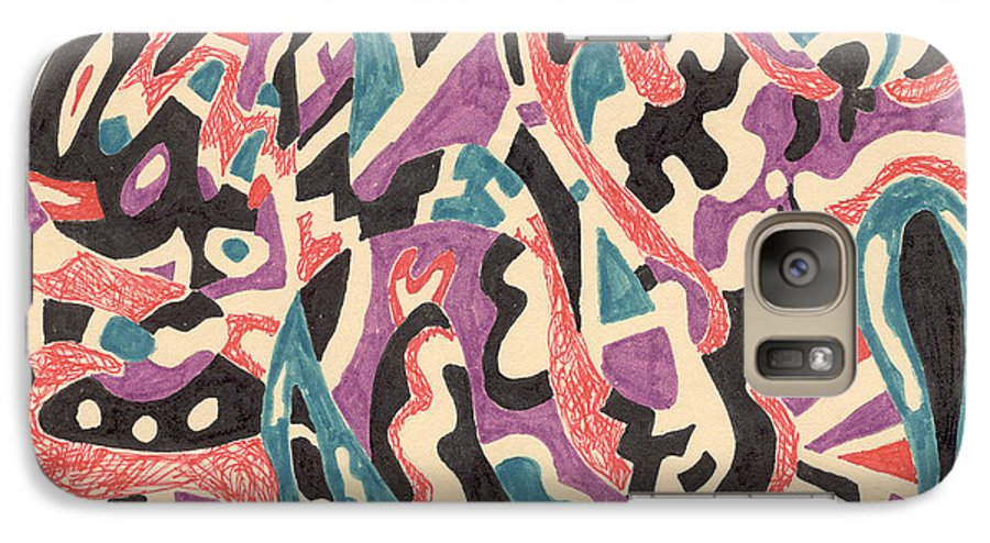 Wild Tribal Abstract Drawing Original Red Cream Black Teal Blue Purple Pattern Movement Rlmdesignes Galaxy S7 Case featuring the drawing Wild by Rebekah McLeod