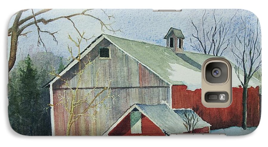 New England Galaxy S7 Case featuring the painting Williston Barn by Mary Ellen Mueller Legault