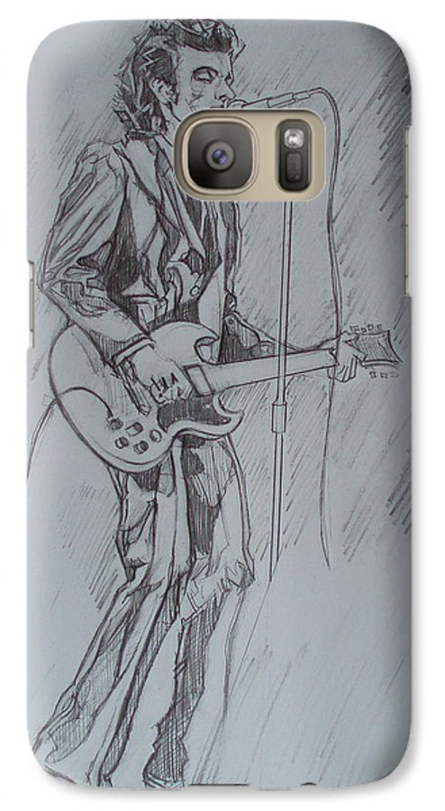 Pencil Galaxy S7 Case featuring the drawing Mink Deville - Steady Drivin' Man by Sean Connolly