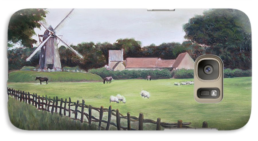 Farm Galaxy S7 Case featuring the painting Windmill On Farm by Jennifer Lycke