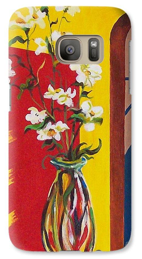 Still Life Galaxy S7 Case featuring the painting Window by Sinisa Saratlic