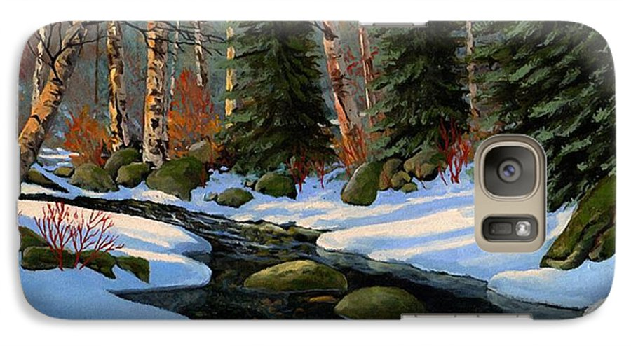 Landscape Galaxy S7 Case featuring the painting Winter Brook by Frank Wilson