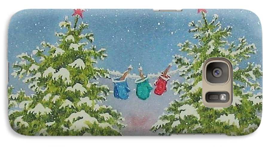 Fun Galaxy S7 Case featuring the painting Winter Is Fun by Mary Ellen Mueller Legault