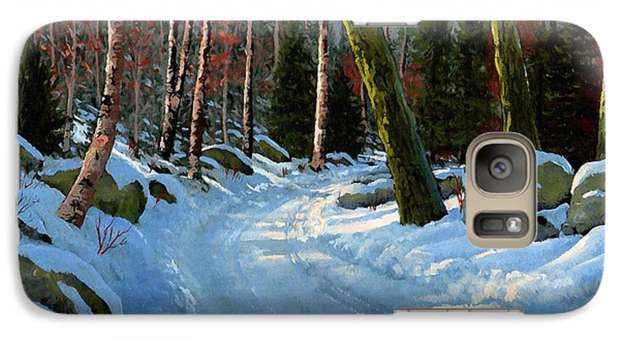 Landscape Galaxy S7 Case featuring the painting Winter Road by Frank Wilson