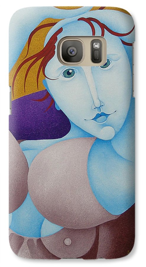 Sacha Galaxy S7 Case featuring the painting Woman With Raised Arms 2006 by S A C H A - Circulism Technique