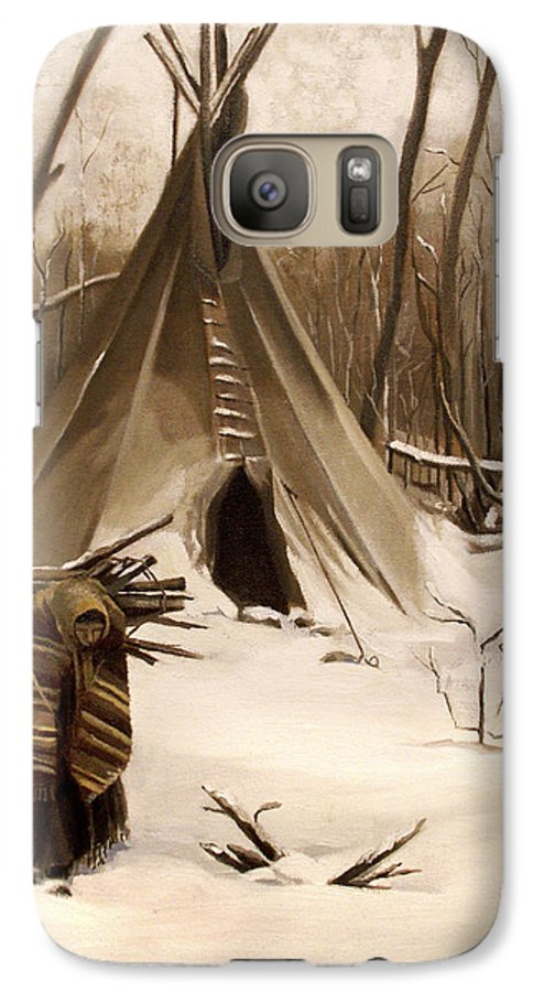 Native American Galaxy S7 Case featuring the painting Wood Gatherer by Nancy Griswold