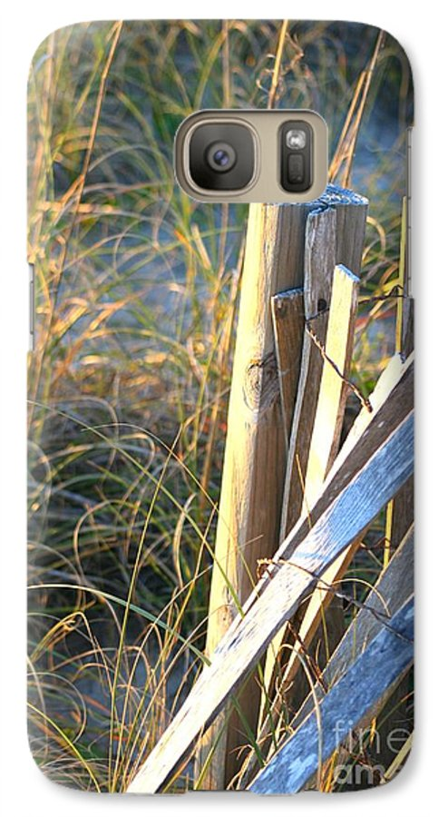 Post Galaxy S7 Case featuring the photograph Wooden Post And Fence At The Beach by Nadine Rippelmeyer