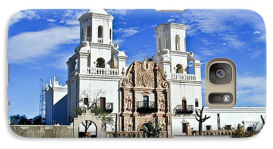 Mission San Xavier Del Bac Galaxy S7 Case featuring the photograph Xavier Tucson Arizona by Douglas Barnett