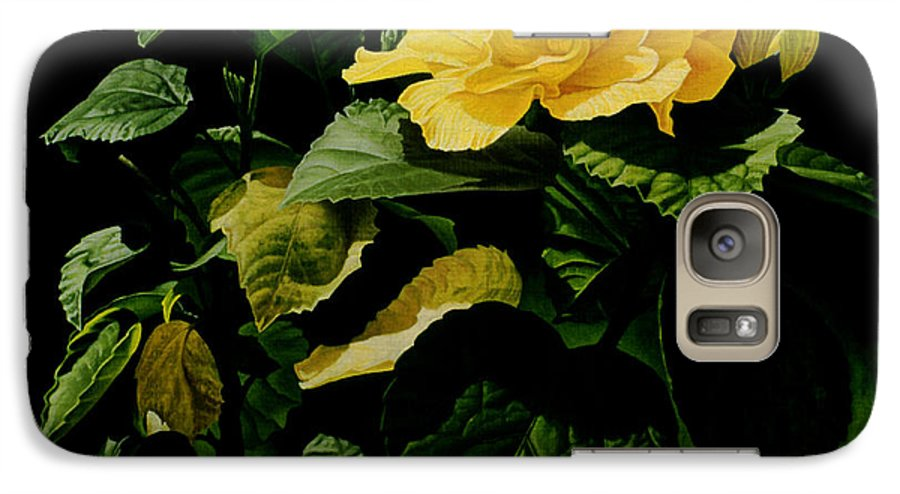 Floral Galaxy S7 Case featuring the painting Yellow Hibiscus by Gary Hernandez