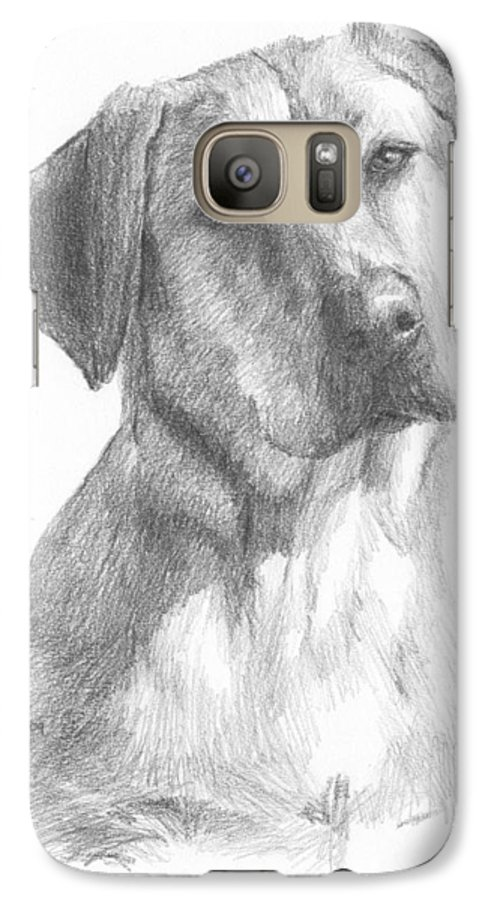 <a Href=http://miketheuer.com>www.miketheuer.com</a> Yellow Lab Dog Pencil Portrait Galaxy S7 Case featuring the drawing Yellow Lab Dog Pencil Portrait by Mike Theuer