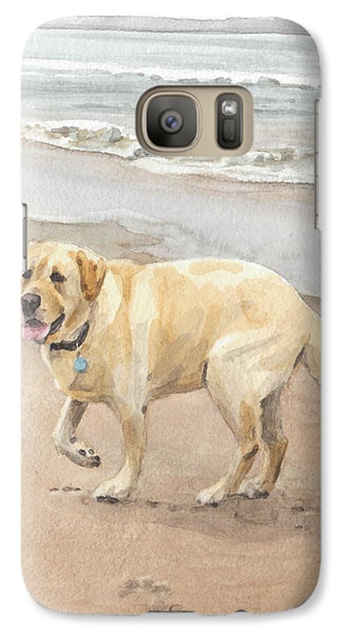 <a Href=http://miketheuer.com Target =_blank>www.miketheuer.com</a> Yellow Lab On Beach Watercolor Portrait Galaxy S7 Case featuring the drawing Yellow Lab On Beach Watercolor Portrait by Mike Theuer