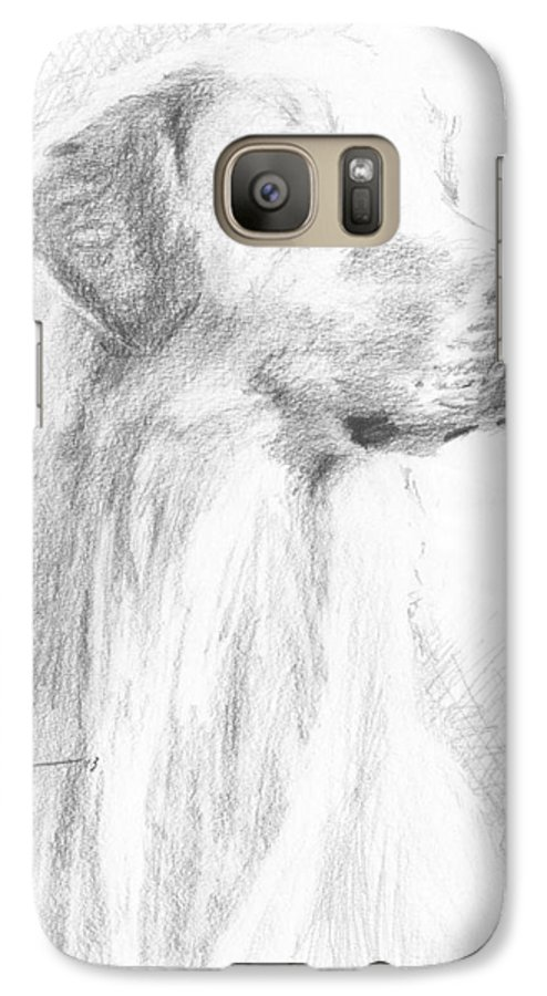 <a Href=http://miketheuer.com Target =_blank>www.miketheuer.com</a> Yellow Labrador Show Dog Pencil Portrait Galaxy S7 Case featuring the drawing Yellow Labrador Show Dog Pencil Portrait by Mike Theuer