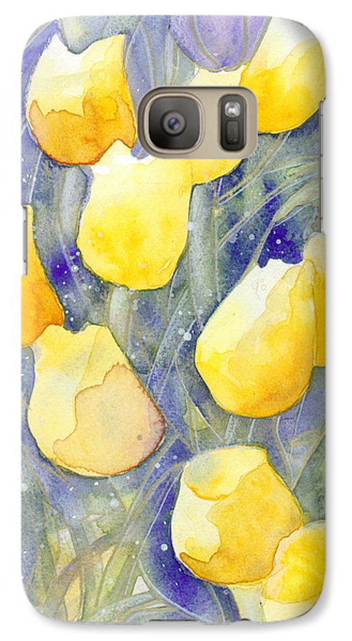 Yellow Tulips Galaxy S7 Case featuring the painting Yellow Tulips 1 by Christina Rahm Galanis