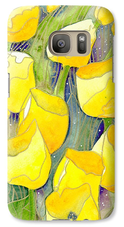 Yellow Tulips Galaxy S7 Case featuring the painting Yellow Tulips 2 by Christina Rahm Galanis