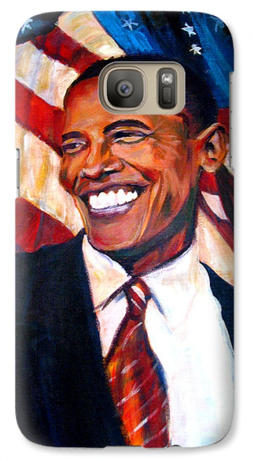 Barack Galaxy S7 Case featuring the painting Yes We Can by Art Nomad Sandra Hansen