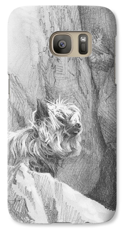 <a Href=http://miketheuer.com Target =_blank>www.miketheuer.com</a> Yorkie Dog On A Cliff Pencil Portrait Galaxy S7 Case featuring the drawing Yorkie Dog On A Cliff Pencil Portrait by Mike Theuer
