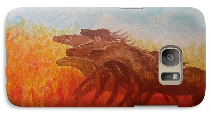 Horses Galaxy S7 Case featuring the painting You Shall Return No More To Egypt Deut 17 16 by Laurie Kidd