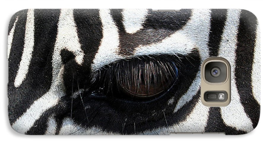 Zebra Galaxy S7 Case featuring the photograph Zebra Eye by Linda Sannuti