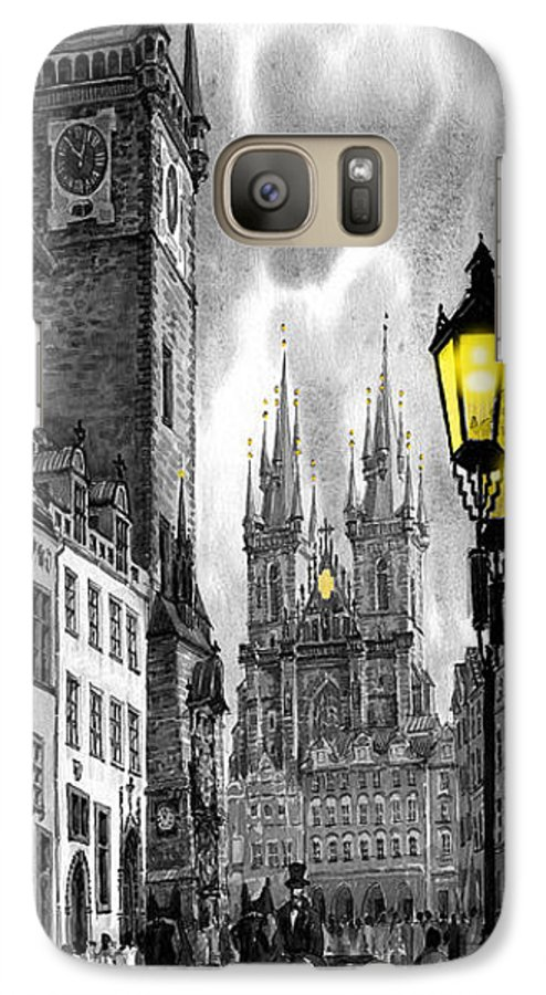 Geelee.watercolour Paper Galaxy S7 Case featuring the painting Bw Prague Old Town Squere by Yuriy Shevchuk