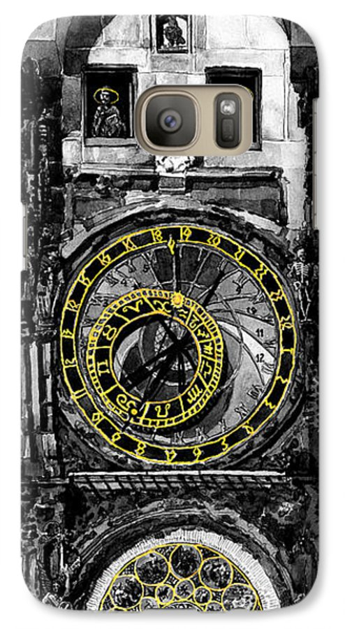 Geelee.watercolour Paper Galaxy S7 Case featuring the painting Bw Prague The Horologue At Oldtownhall by Yuriy Shevchuk