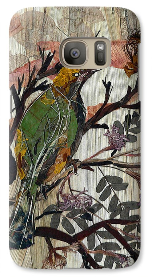 Green Bird Galaxy S7 Case featuring the mixed media Green-yellow Bird by Basant Soni