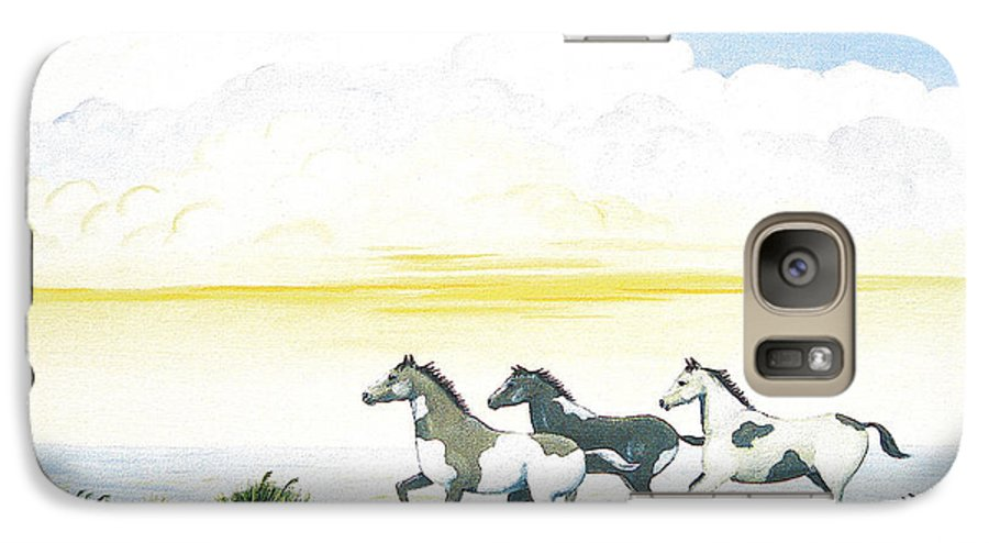 Chincoteague Galaxy S7 Case featuring the painting Indian Ponies by Jerome Stumphauzer