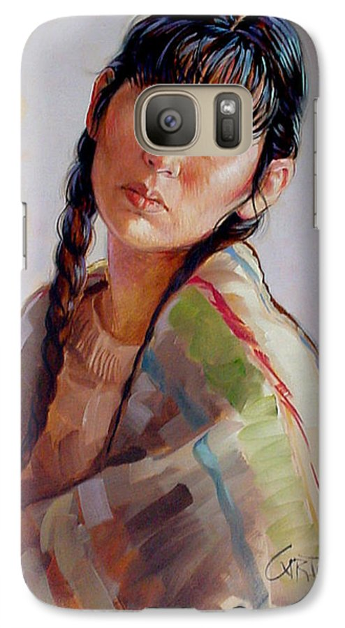 Sacajawea Galaxy S7 Case featuring the painting Sacajawea  Study by Jerrold Carton