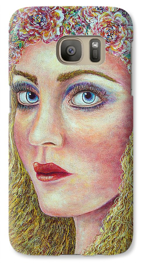 Woman Galaxy S7 Case featuring the painting  The Flower Girl by Natalie Holland