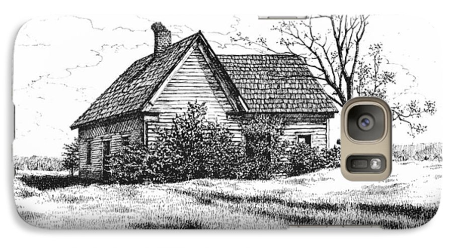 Landscape Galaxy S7 Case featuring the drawing Appalachee Farmhouse by Peter Muzyka
