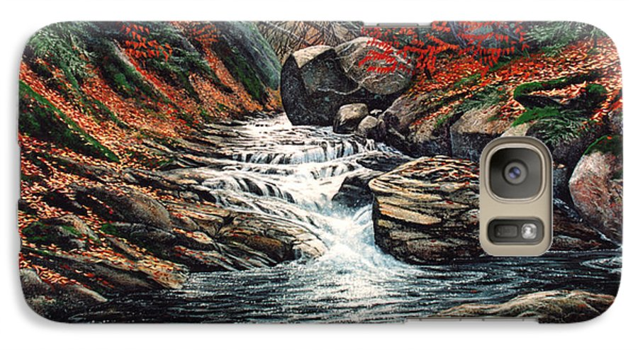 Landscape Galaxy S7 Case featuring the painting Autumn Brook by Frank Wilson