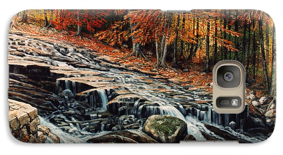 Landscape Galaxy S7 Case featuring the painting Autumn Cascade by Frank Wilson
