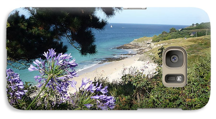 Coast Brittany Flowers Sea Ocean Bay Pines France Galaxy S7 Case featuring the photograph Bel-ile-en-mer by Lizzy Forrester