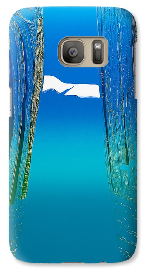 Landscape Galaxy S7 Case featuring the mixed media Between Two Mountains. by Jarle Rosseland