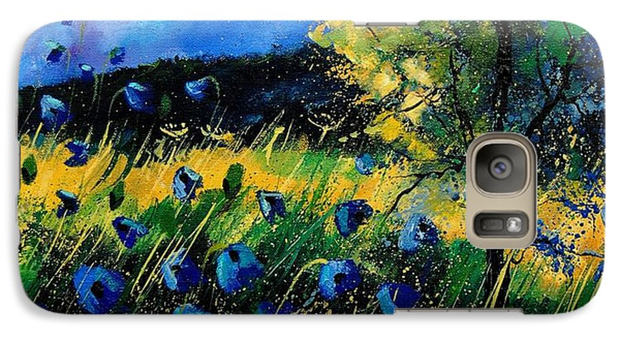 Poppies Galaxy S7 Case featuring the painting Blue Poppies by Pol Ledent