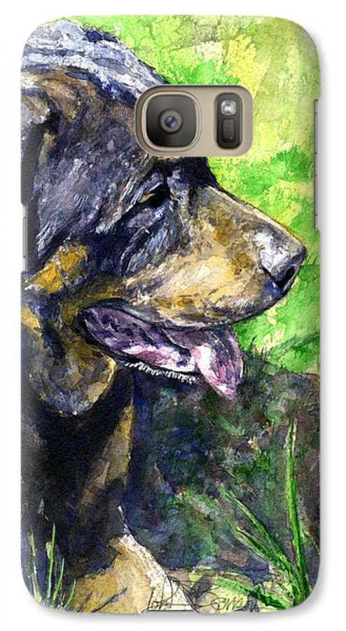 Rottweiler Galaxy S7 Case featuring the painting Chaos by John D Benson