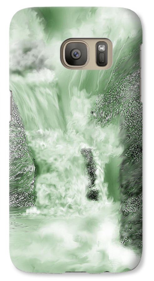 White Water Galaxy S7 Case featuring the painting Cherry Creek Lower Run by Anne Norskog