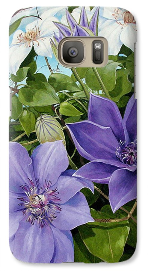 Clematis Galaxy S7 Case featuring the painting Clematis 2 by Jerrold Carton