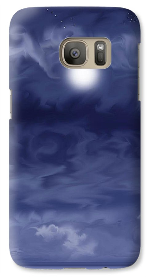 Moon Galaxy S7 Case featuring the painting Cobalt by Anne Norskog