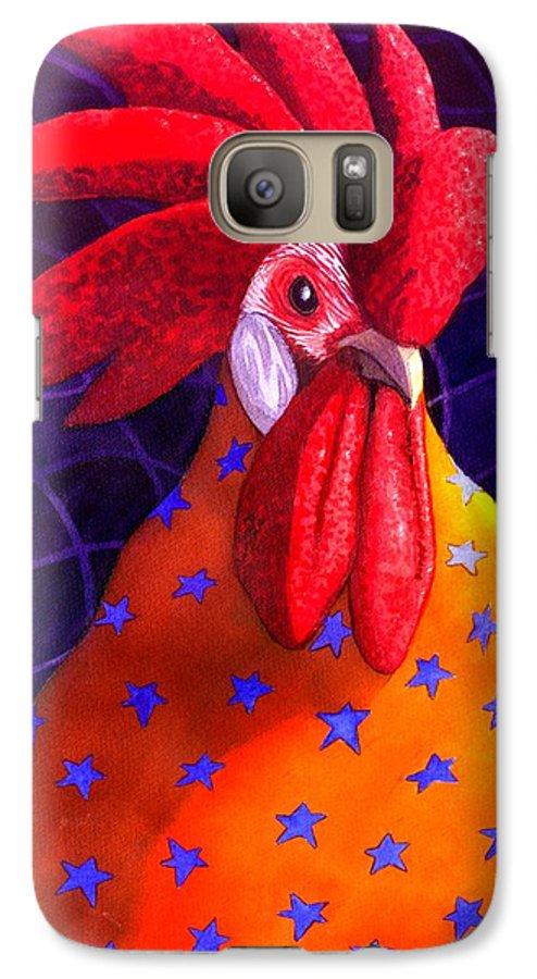 Rooster Galaxy S7 Case featuring the painting Cock A Doodle Dude by Catherine G McElroy