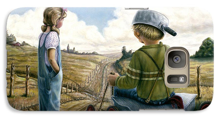 Children Playing Galaxy S7 Case featuring the painting Down Hill Racer by Lance Anderson