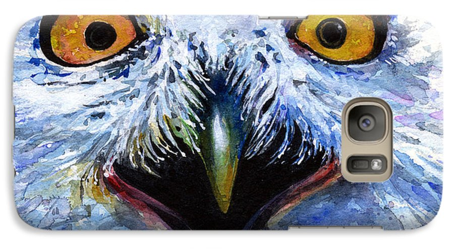 Eye Galaxy S7 Case featuring the painting Eyes Of Owls No. 15 by John D Benson
