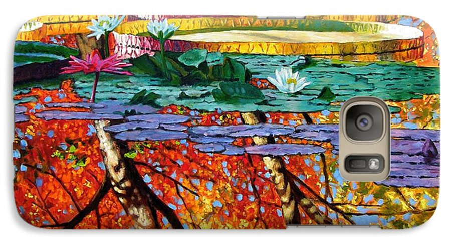 Water Lilies Galaxy S7 Case featuring the painting Fall Reflections by John Lautermilch