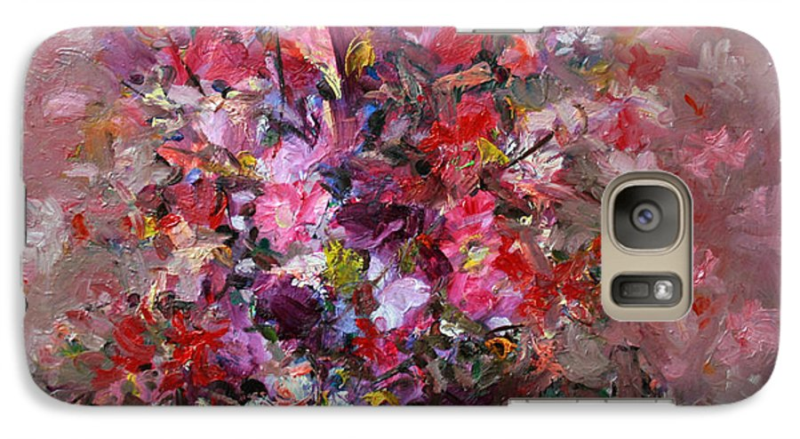 Pink Flowers Galaxy S7 Case featuring the painting Flowers by Mario Zampedroni