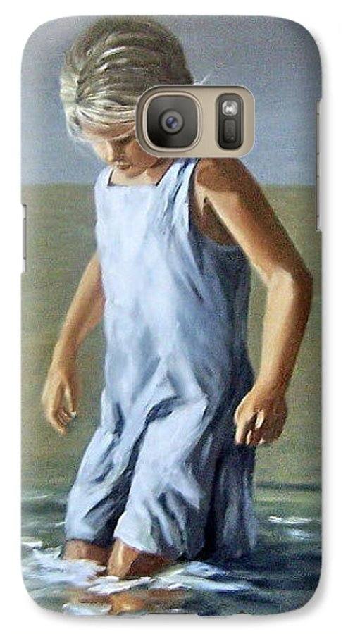 Girl Children Reflection Water Sea Figurative Portrait Galaxy S7 Case featuring the painting Girl by Natalia Tejera