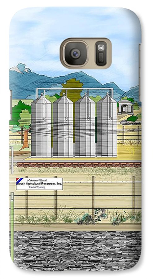 Wyoming Galaxy S7 Case featuring the painting Grain Elevators At Ralston by Anne Norskog