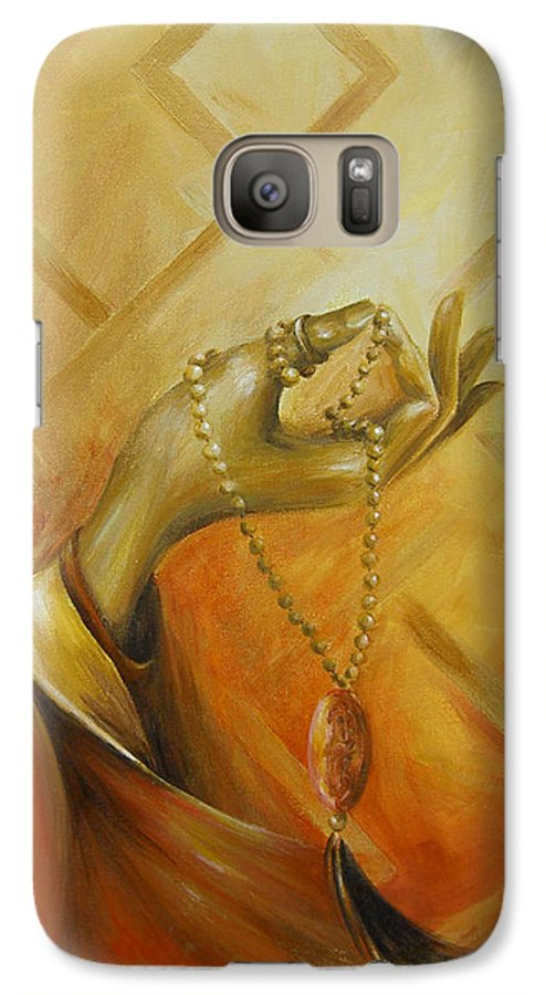 Yoga Galaxy S7 Case featuring the painting Gyan Mudra by Dina Dargo
