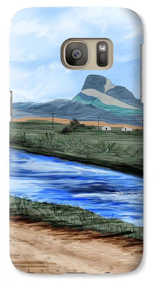Heart Mountain Galaxy S7 Case featuring the painting Heart Mountain And The Canal by Anne Norskog
